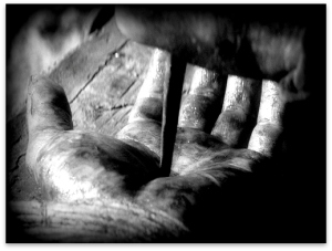 nail pierced hand of Jesus edited